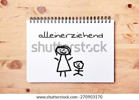 stick man background - drawing block - german for single parent - stock photo