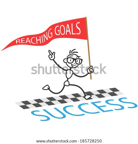 Stick man: Running stick figure with flag labeled Reaching Goals crossing finishing line - stock photo