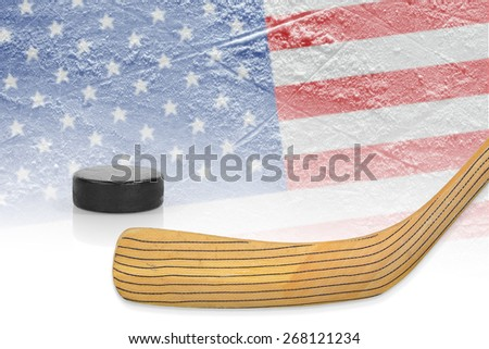 Stick, puck and hockey field with the American flag. The Concept