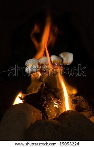 Stick with marshmallows held above burning fire - stock photo