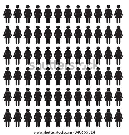 Stick Woman Icon Set - Vector Illustration Stock - stock photo