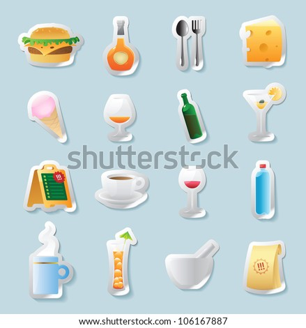 Sticker button set. Icons for food and drinks. Raster version. Vector version is also available.