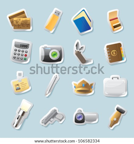 Sticker button set. Icons for personal belongings. Raster version. Vector version is also available. - stock photo