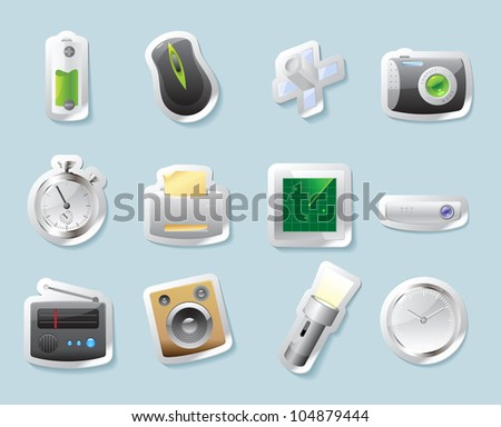 Sticker button set. Icons for technology and devices. Raster version. Vector version is also available. - stock photo
