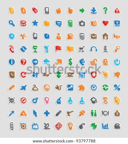 Sticker button set. 100 multicolored icons for business, entertainment and education. Raster version. Vector version is also available. - stock photo