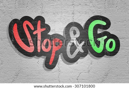 Sticker go and stop - stock photo