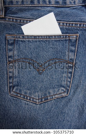 Sticker in your pocket jeans. Your text here. - stock photo