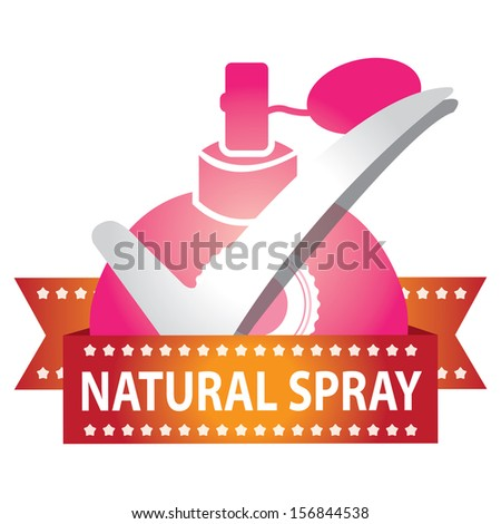 Sticker, Label or Badge For Product Information or Product Ingredient Present By Pink Glossy Style Natural Spray Perfume Bottle Sign With Check Mark Isolated On White Background  - stock photo