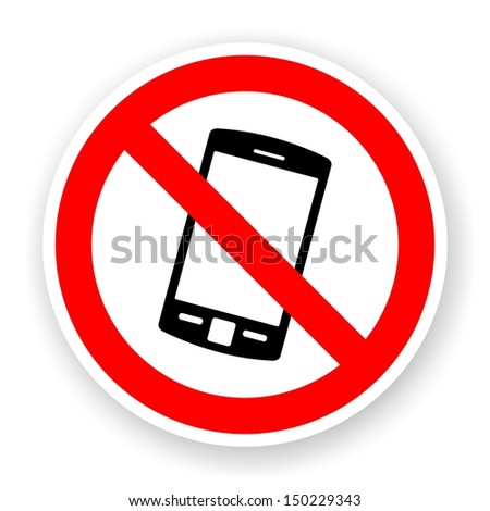 sticker of no mobile phone sign with shadow