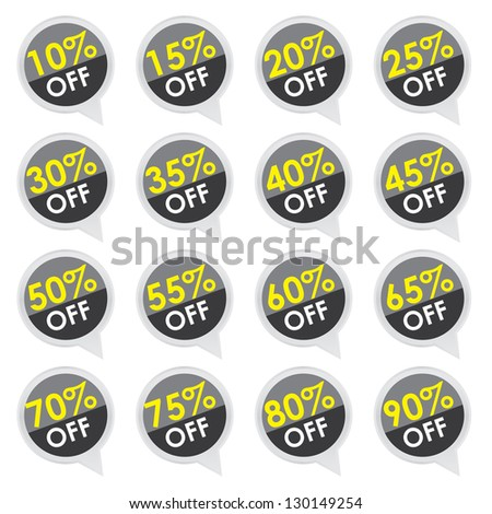Sticker or Label For Marketing Campaign, 10-90% Off With Black Icon Isolated on White Background - stock photo