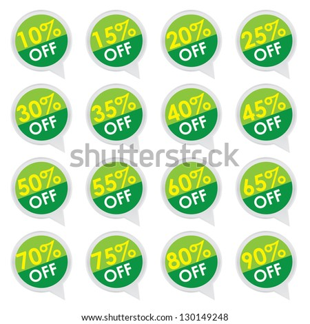 Sticker or Label For Marketing Campaign, 10-90% Off With Green Icon Isolated on White Background - stock photo