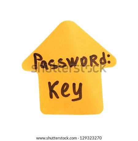 Sticker-reminder with most popular password, isolated on white