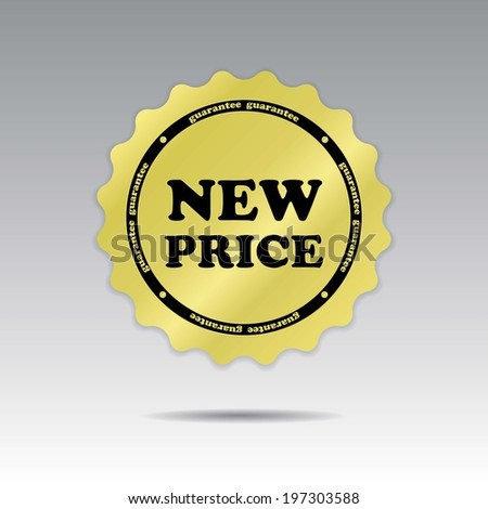 Sticker, Tag, Label or Badge For Product Present By Golden New Price Sign Inside Isolated on Silver Background.  - stock photo