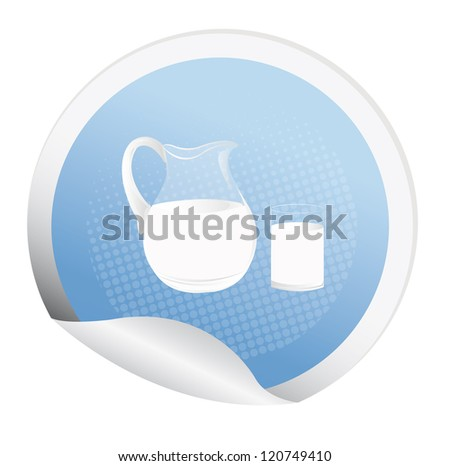 Sticker with a fresh milk for packaging dairy products