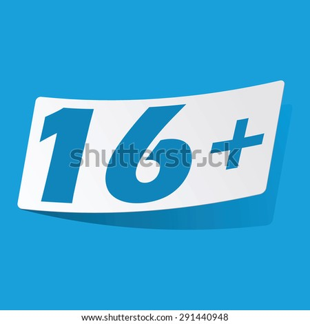 Sticker with 16 plus icon, isolated on blue