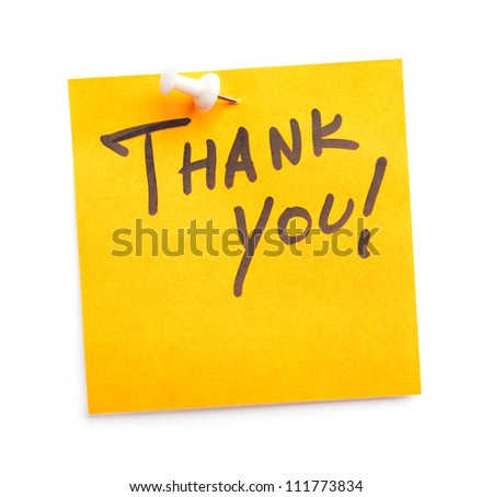 Sticker with text Thank you on it, isolated on white background - stock photo