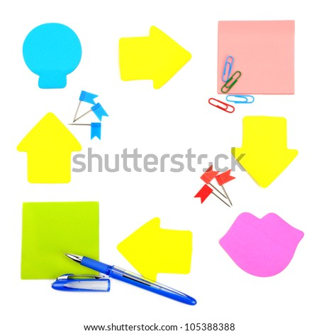stickers and stationery isolated on white background - stock photo