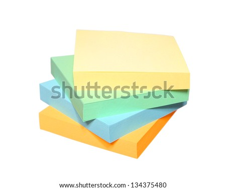 stickers block color multicoloured Post it Notes isolated on white background - stock photo