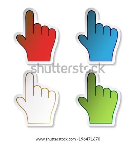 stickers, button of hand, symbol of next, here, more - stock photo