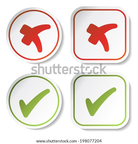 stickers - check mark, red and green button, circle, square, yes and no symbol