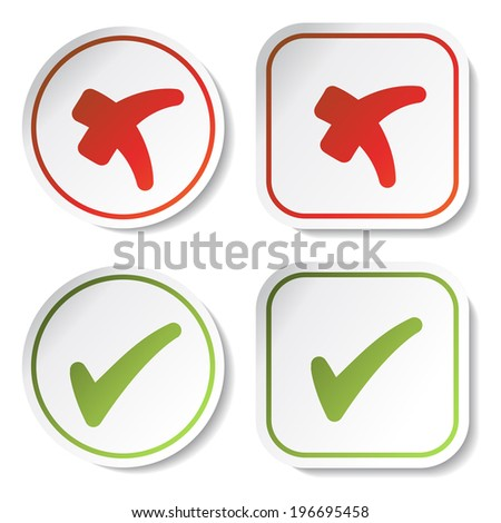 stickers - check marks - stock photo