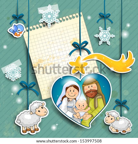 Stickers depicting the characters of the nativity with the piece of paper where you can insert your own text - stock photo