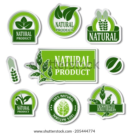 stickers for natural product, nature buttons