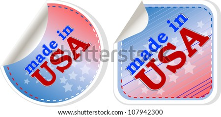 stickers label set - made in usa. Raster - stock photo