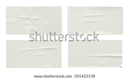 Stickers label (with clipping path) isolated on white background - stock photo