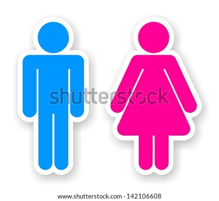 stickers of man and woman toilet symbols - stock photo