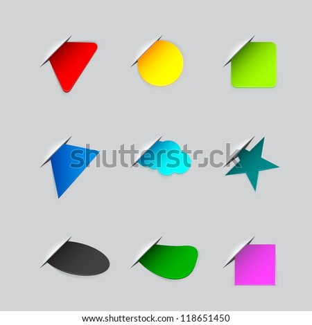Stickers on the edge of the (web) page - stock photo