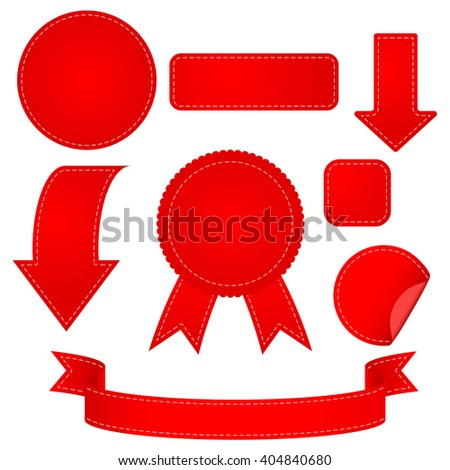Stickers, ribbon and arrow. Set red web elements.   illustration isolated on white background. Raster version - stock photo