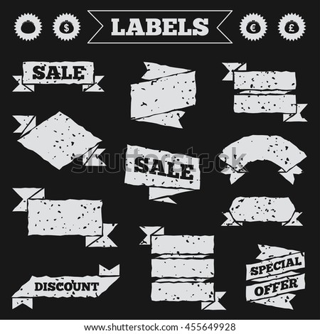 Stickers, tags and banners with grunge. Wallet with Dollar, Euro and Pounds currency icons. Cash bag signs. Retro wealth symbol. Sale or discount labels.  - stock photo
