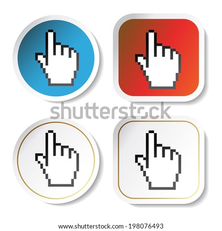 stickers with cursor of hand, circle, square