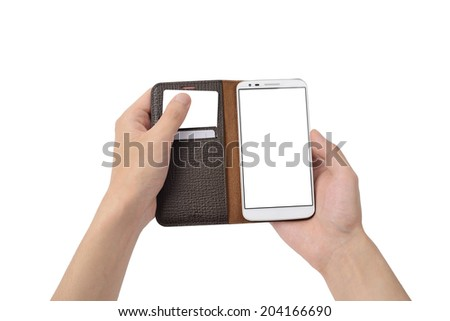 sticking out of a card from smart phone case, isolated on white - stock photo