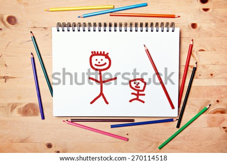 stickman background - drawing block - father and child son daughter - stock photo