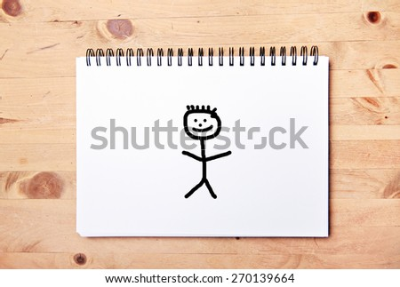 stickman background - drawing block - only man - stock photo