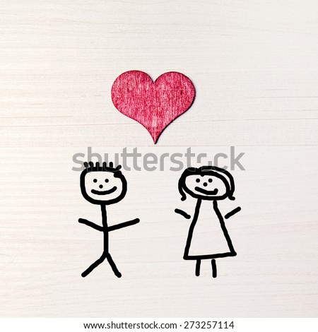 stickman background - greeting card - happy couple - stock photo
