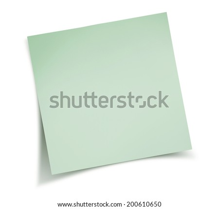 Sticky green note paper - stock photo