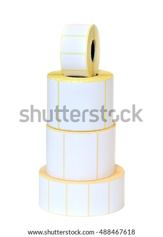 Sticky label rolls on white background