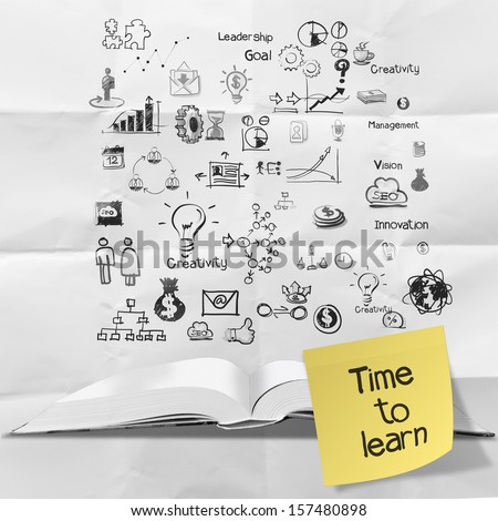 sticky note time to learn on blank book and splash colors choice on crumpled paper as concept - stock photo