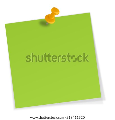 sticky note with pin needle - stock photo
