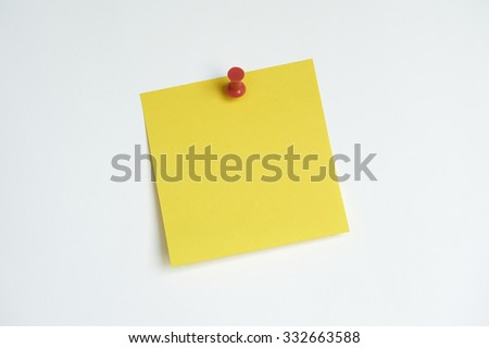 Sticky note with push pin - stock photo