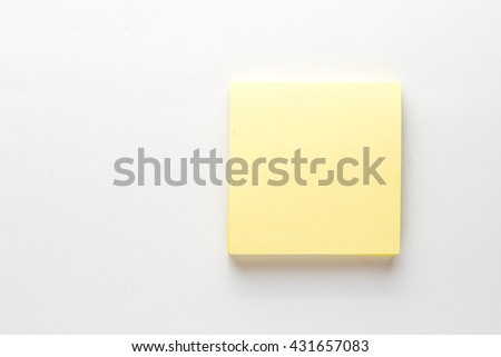 Sticky note,Yellow notepad on white background