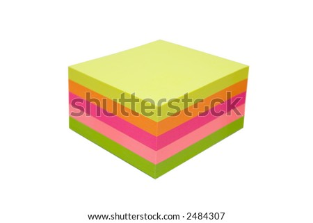 Sticky notes cube with sheets in various colors. Isolated over white with clipping path. - stock photo