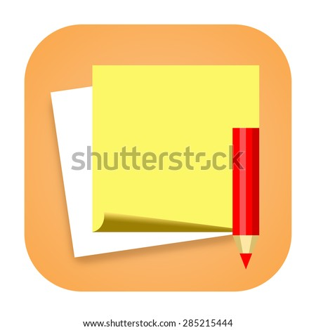 Sticky notes icon with paper and pencil - stock photo