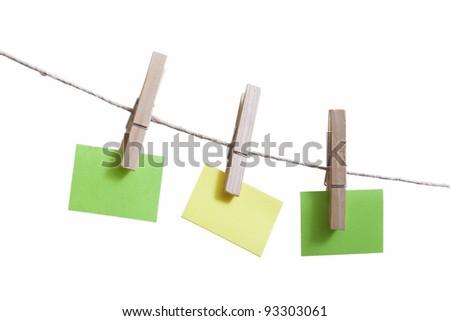 Sticky notes on a clothesline. - stock photo
