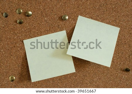 sticky notes on a notice board - space of text
