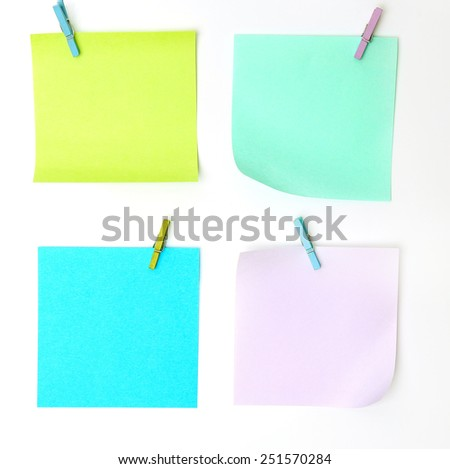 Sticky notes on a white background - stock photo