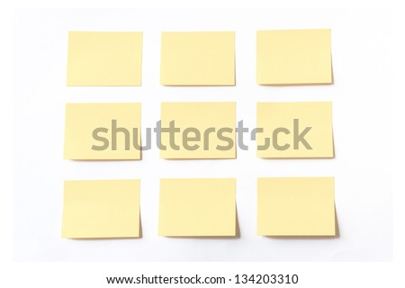 Sticky notes on white background - stock photo